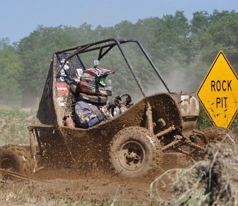 Driver Scott Rhudy in the four-hour Endurance Race of the 2012 SAE Baja Wisconsin. Zack Peck photo