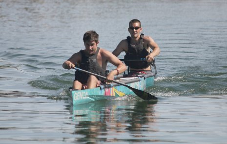 Michigan Tech team members Chris Droste, in front, and John Laureto paddle  in the 2012 ASCE National Concrete Canoe Competition. ASCE photo