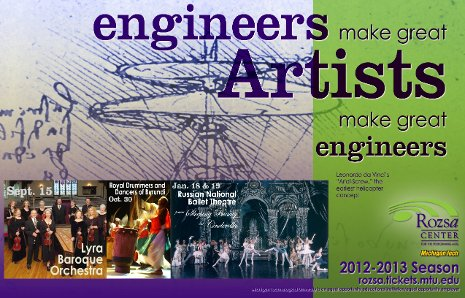 A new Rozsa Center marketing strategy links the arts and engineering.