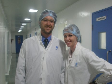 MBA students Mike Vigrass and Holly Lehto at the pharmaceutical company Micro Labs Ltd. during their residency in Bangalore.
