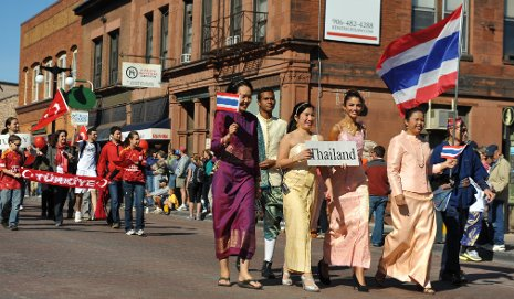 Representatives of Thailand and Turkey march in last year's Parade of Nations.