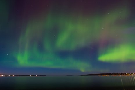 Aurora borealis above Keweenaw Bay, near Baraga, Michigan, on Sept. 30, 2012. Sarah Bird photo
