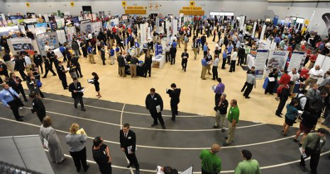 Employers and students jam the SDC gym during the fall Career Fair.