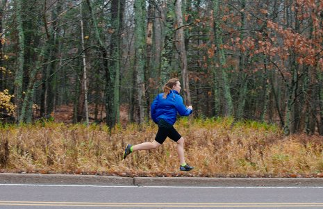 Michigan Tech's Breanna Cornell in training on Sharon Avenue for her run across Botswana's Kalahari Desert