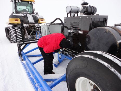 Russ Alger checking out the SnowPaver equipment