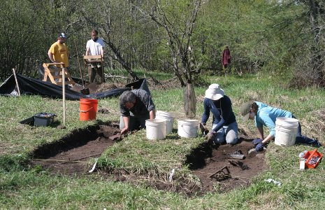 Students excavating in historic Clifton, the Keweenaw's first successful mining community.  Photo by Timothy Scarlett.
