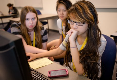 Maria Stull, Haley Le and Christina Li (left to right) developed mobile apps as part of their week-long scholarship program for Women in Computer Science at Michigan Tech.