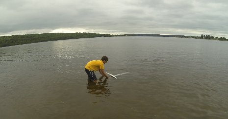 Brian Page conducts Summer Undergraduate Research Fellowship research with his autonomous underwater glider.
