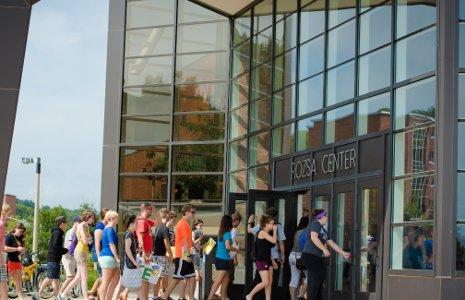 New students get a look at the Rozsa Center for Performing Arts.