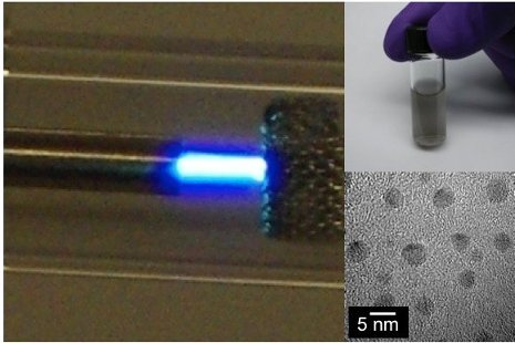 Clockwise, microplasma dissociates ethanol vapor, carbon particles are collected and dispersed in solution, and an electron microscope image reveals nanosized diamond particles. Case Western Reserve University image