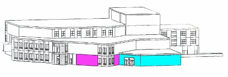 An artist's rendering of the planned John Edgar McAllister Welcome Center at the Memorial  Union Building. The current Peninsula Room (in pink) will be renovated and an addition (in blue) will be built.