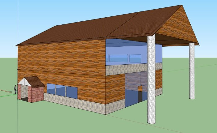 BBY&B's rendering of a trailhead lodge at the Michigan Tech Trails, designed by project manager Ben Bryant, Jared Belovich, Alex Bomstad and Kaili Yue.
