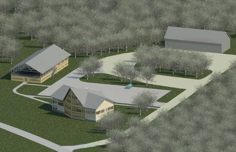 TDWS Consulting's rendering of a trailhead lodge at the Tech Trails, designed by project manager Kelcey Traynoff, Allyssa Demers, Eric Simmons and Kevin Wilks.