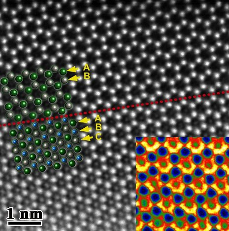 Michigan Tech's new transmission electron microscope will be able to generate images such as this one, which reveals the atomic structure of zinc-antimony nanowires.