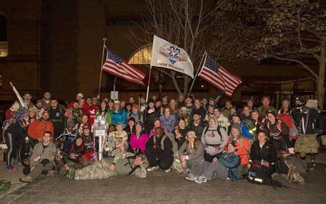 The participants at the finish line of the recent Boston ruck march.