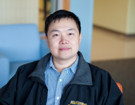 Michigan Tech's Shiyan Hu, who is designing speedier computer chips by replacing copper wires with graphene and carbon nanotubes. His work is supported by a National Science Foundation CAREER Award.