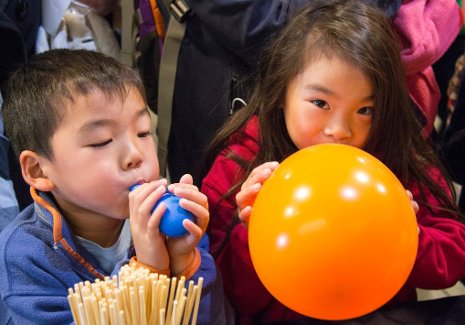 Children discover that they can jam a skewer into the top or bottom of a balloon, where the rubber is thicker, without popping it, while the same skewer punched through the thinner, central part of the balloon where the tension is greater will burst it.