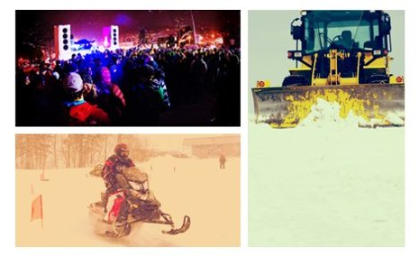 Collage of Winter Carnival concert, a snowmobile, and a snowplow.