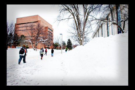 Students walking though campus near the Library.