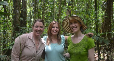 Three women scientists are spearheading a new study of climate change and tropical forests. From the left, Sasha Reed, Tana Wood and Molly Cavaleri.  Photo: Alida Mau