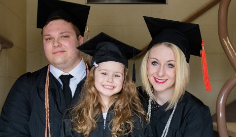 August, Charlotte and Elizabeth Skultety are all set for Commencement.