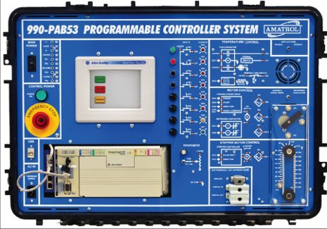 A programmable logic controller (PLC) training system.