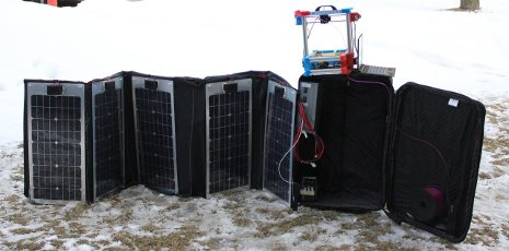 The ultra-portable solar-powered RepRap (Fold-a-Rap) deployed in winter.  Photo: Debbie King.