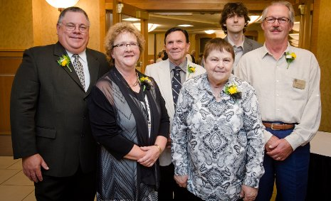 Winners of the Michigan Tech Alumni Association awards, from the left: Joseph Nowosad, Susan Korpela, John Fenn, Lynda Fenn, Justin Fitch, B. Patrick Joyce