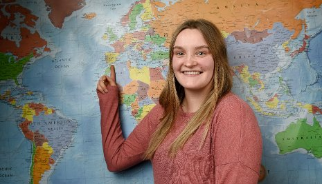 Kaila Pietila points to Malaga, in southern Spain, where she will be studying.