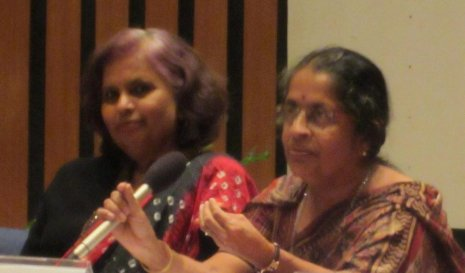 Pushpalatha Murthy (left) and Rohini Godbole at a STEM professional women's workshop in Bangalore.