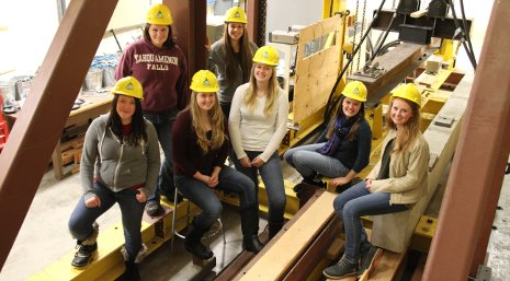 Michigan Tech engineering undergraduates who participated in the Kiewit Women's Construction Leadership Seminar. From the left: Erika Harris, Natalie Parker, Rachelle Wiegand, Lauren Krueger, Emily Blaney, Erin Richie and Autumn Storteboom.
