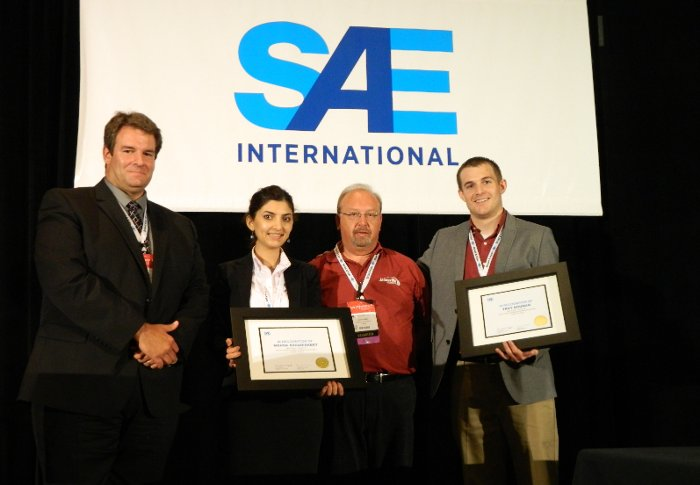 Michigan Tech graduate students Mahsa Asgarisabet and Troy Bouman recently won an award from SAE International for their work on carbon nanotube speakers.