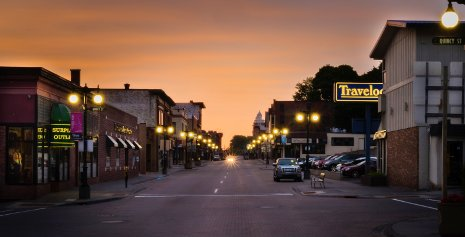 Downtown Houghton, just a mile from the Michigan Tech campus, retains its old-time mining town flavor.