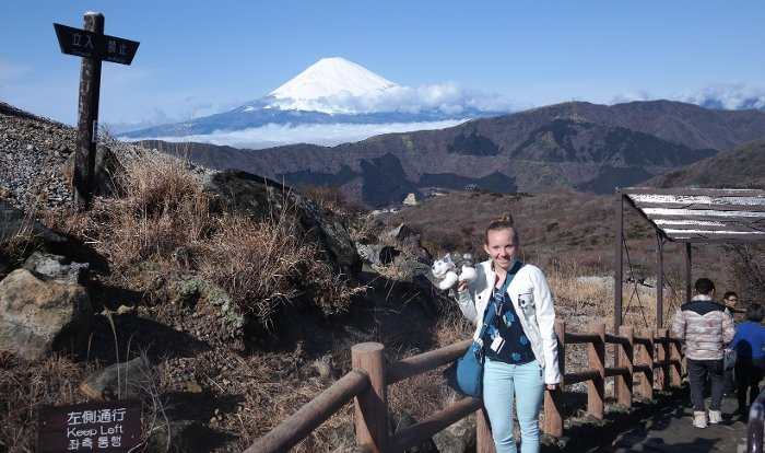 Sasha Burnett on a trail in front of Mt. Fuji in Hakone, Japan.
