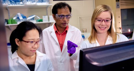 Tarun Dam, center, goes over research with PhD candidates Ni Fan, left and Melanie Talaga right in a lab at Michigan Tech.