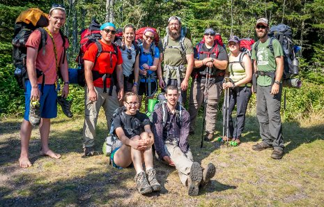 The ASPEN student organization backpacking at Isle Royale National Park.