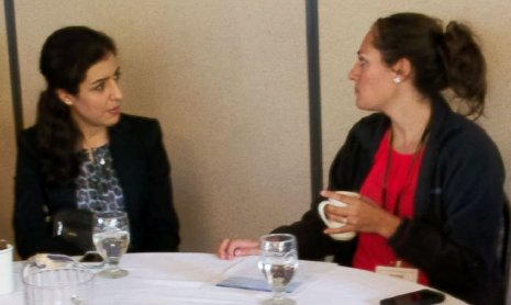 Maryam Khaksari, left, and Andrea Bouman chat during a break at the Keweenaw Medical Conference, Aug. 29. Khaksari, a Michigan Tech PhD student, was presenting at the conference. Bouman a Tech Alumna was attending as a 4th-year medical student.