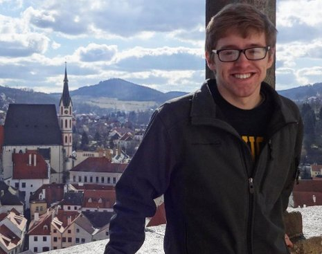 Michigan Tech undergraduate Peter Winegar, shown here in Cesky Krulov, Czech Republic, is the University's 10th winner of the Goldwater Scholarship. Winegar, currently studying abroad in Prague, is a third-year Chemistry major from Lino Lakes, Minnesota.