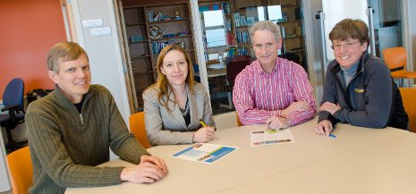 From left, Jonathan Leinonen, Adrienne Minerick, John Diebel and Megan Frost are seen in the M&M Building on the Michigan Tech Campus. Startup companies by Minerick and Frost have recently signed commercial licensing agreements, which University officials say represent important commercialization milestones.