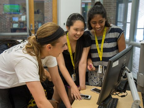 High school girls discover the excitement of computer science during Michigan Tech's summer program, Women in Computing Sciences.