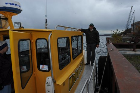 Aboard the R.V. Agassiz, researchers gather data about past mercury deposition in the Lake Superior watershed.