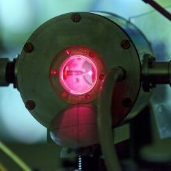 Red laser in a physics laboratory