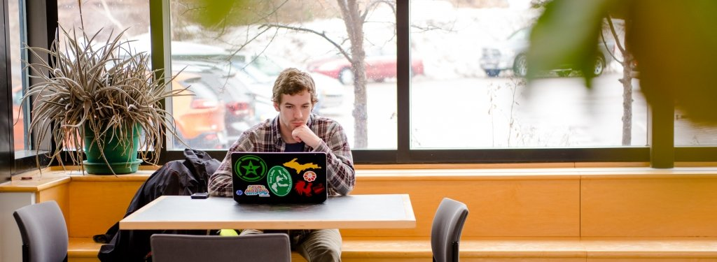 Student sitting at a laptop