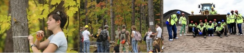 Collage image showing students in the woods and on a construction site.