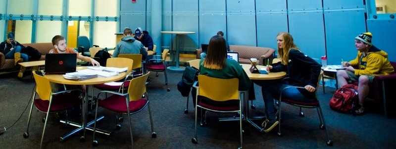 Students in a study area in Rekhi Hall.