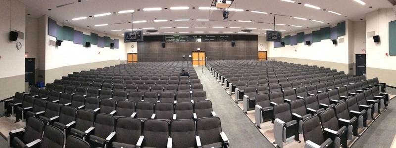 Panoramic view of Fisher 135 lecture hall