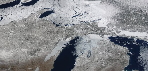 A satellite view of Wisconsin, Michigan, and the Great Lakes