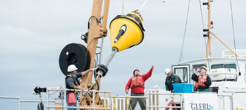 Buoy being deployed from a ship
