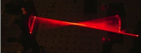 A photo of multiple red laser beams in a geometric pattern.