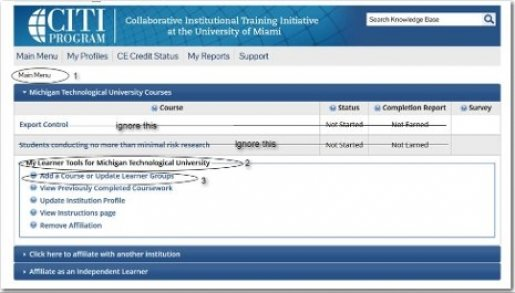 "Screenshot of the CITI program. Select ""add a course or update learner groups"" under the dropdown."